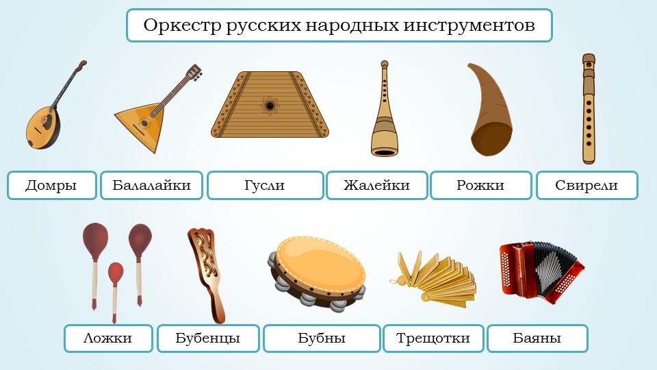 Народные инструменты с картинкой и названием